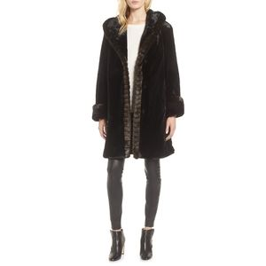 Gallery Hooded Black Faux Fur Walking Coat